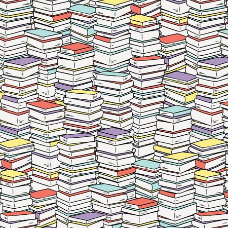 Pile books pattern for textile, fabric,wrapping paper.  Hand drawn vector illustration.