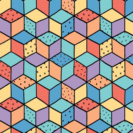 Hand drawn vector illustration of abstract isometric cubes pattern.
