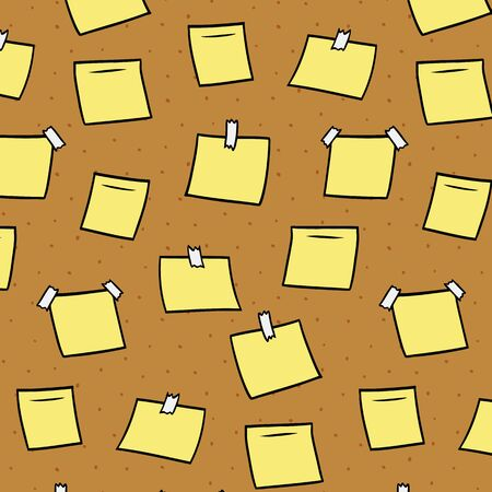 Hand drawn vector illustration of blank memo notes on cork board pattern.