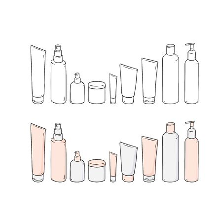 Hand drawn vector illustration of blank template skin care set.Plastic cosmetic jar product.