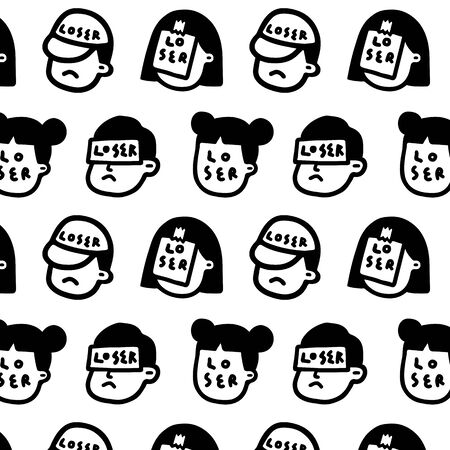 "Pattern vector illustration of people face with word ""loser"" in cartoon style. Abstract wallpaper."