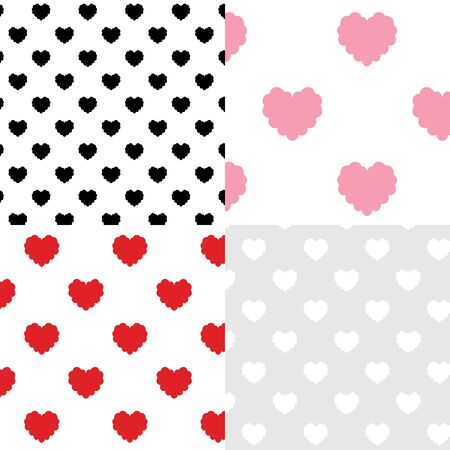 Set of heart pattern vector illustration.doodle wallpaper.minimal cartoon style.