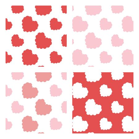 Vector illustration of slant pink,red,white heart pattern set.