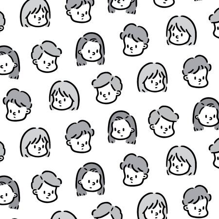 Hand drawn vector illustration of face girl and boy pattern 向量圖像