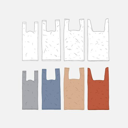 Hand drawn vector illustration of plastic bag set.