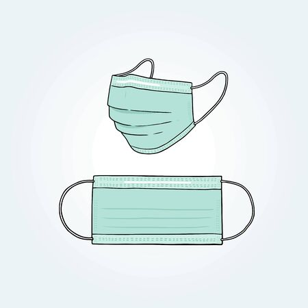 Hand drawn vector illustration of surgical mask.