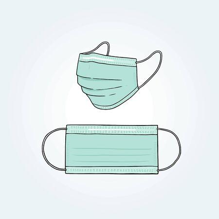 Ilustración de vector dibujado a mano de mascarilla quirúrgica.