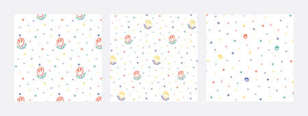 Cute floral pattern set in cartoon style.Seamless vector texture for fashion prints, textile, fabric, wrapping, paper, wallpaper.