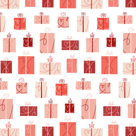 Vector illustration of gift boxes pattern. Present seamless background for Valentines day.