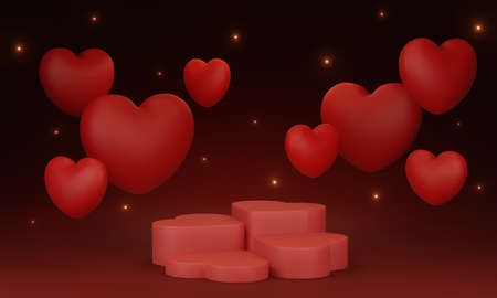3d render image of heart shape podium for product display on red background for Valentines day.