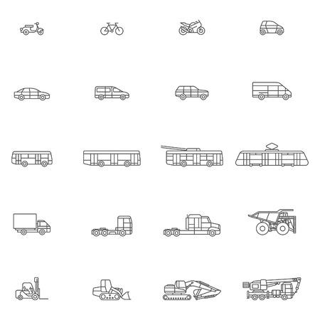 transport line art icon set Vektoros illusztráció
