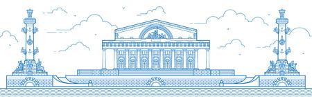 spit: Saint-Petersburg. The Spit of Vasilievsky Island line art illustration