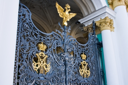 main gate: main gate of the ,Winter Palace,. Now it is the Hermitage. St. Petersburg. Russia.