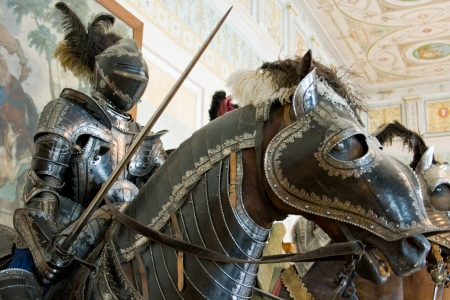 horse warrior: The medieval knight. St. Petersburg. Russia