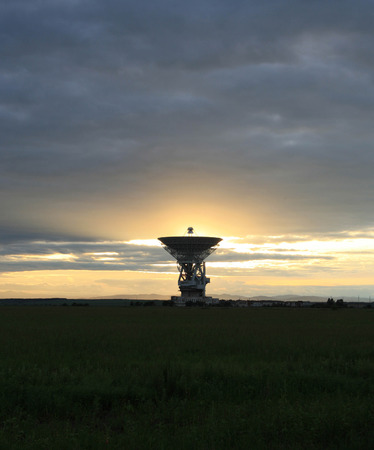 outerspace: Locator of an outer-space communication against a sunset.