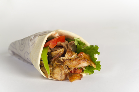 Arabic, Greek or Turkish sandwich with meat in white background