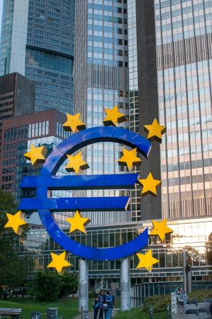 Euro symbol in German town Frankfurt Editorial