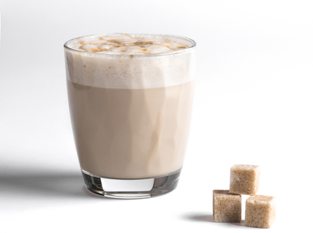Milk coffee in glass cup on white background