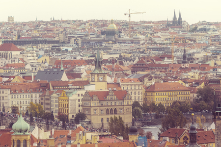 Beautiful view on Prague in autumn