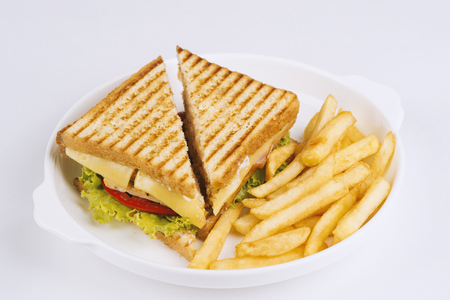 delicious sandwich and fried potatoes