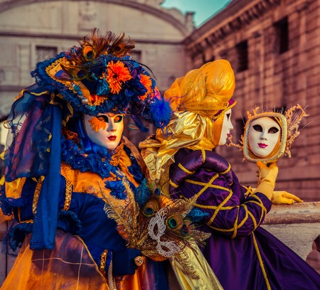 People in masks and costumes Stock Photo