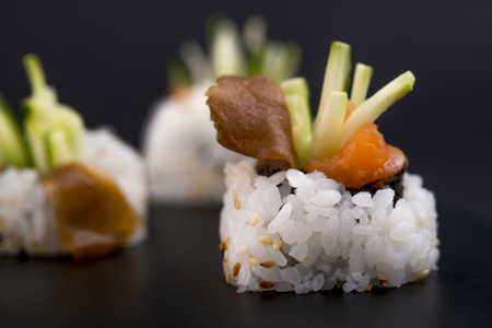 Sushi menu. Japanese food. Banque d'images - 119139664