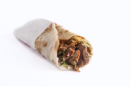 Tasty shawarma sandwich isolated on white background Stock Photo