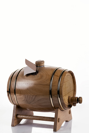 wooden oak barrel for alcohol, wine, beer, cognac, brandy