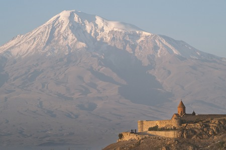 Ancient Armenian Church Khor Virap with Ararat in the background
