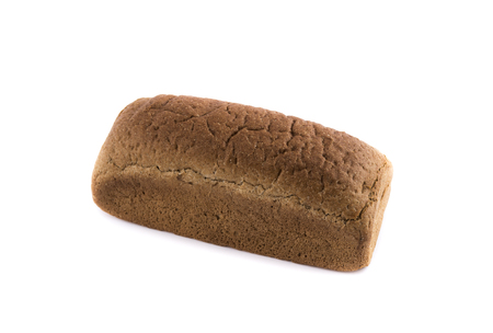 brown rye bread isolated on white background