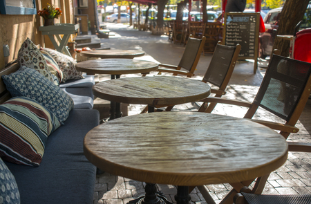outdoor cafe  in the spring in a European city