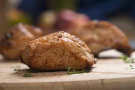 BBQ Chicken Slices on a wooden board Stock Photo