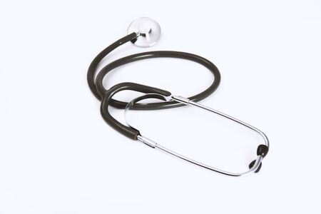Black medical stethoscope on white