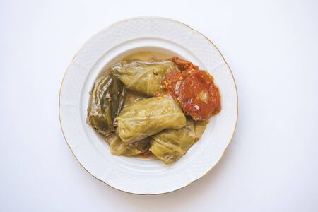 Cabbage leaves stuffed with meat. Rolls of cabbage. Chou farci, charuto, dolma, sarma, golubtsy, holubtsi or golabki. 版權商用圖片