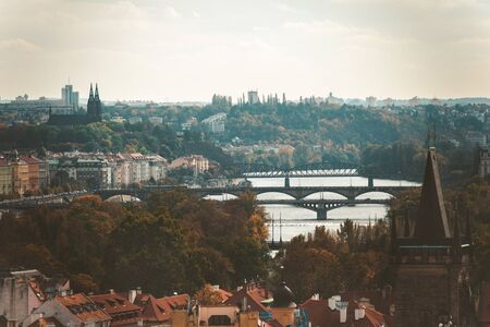 Prague, Czezh Republic. Scenic autumn aerial view of the Old Town.Vintage style photo