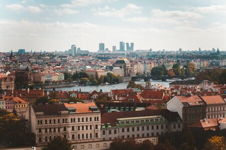 Prague, Czezh Republic. Scenic autumn aerial view of the Old Town.Vintage style photo 版權商用圖片