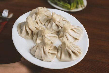 A dish of khinkali, a traditional georgian dumpling with minced meat 版權商用圖片