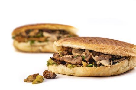 two shawarma sandwich, doner kebab, gyros on white background Reklamní fotografie