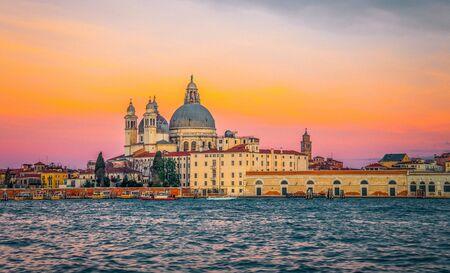 Grand Canal and Basilica Santa Maria della Salute at dawn, Venice, Italy