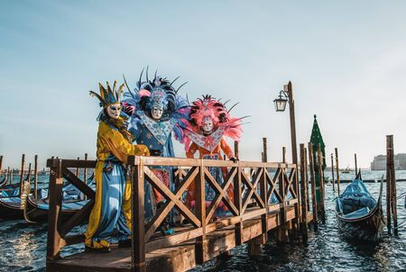 people in masks and costumes on Venetian carnival Stock fotó