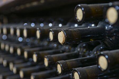 Botellas de vino polvorientas en un estante de madera en una bodega