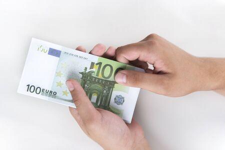 Man counting money, economy concept, allocation of money.Euro