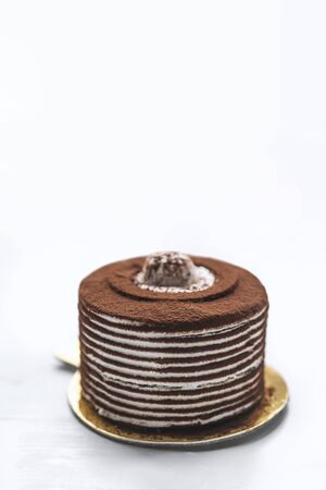 sponge cake with coffee filling on white background.  Sweet food. Sweet dessert.Chocolate Cake Standard-Bild