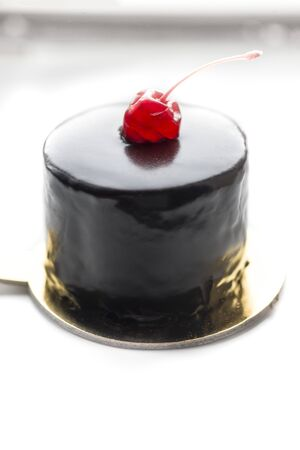 Chocolate Cake with  Cherries on white background.  Sweet food. Sweet dessert.