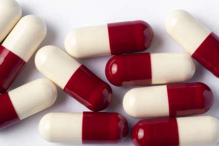 Drug prescription for treatment medication. Pharmaceutical medicament, Pharmacy theme, Heap of red white medicament