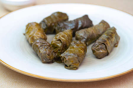 Dolma (tolma, sarma) - stuffed grape leaves with rice and meat. Traditional Caucasian, Mediterranean, Turkish and Greek cuisine