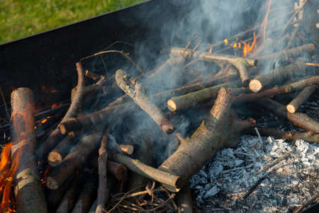 Freshly lit barbecue fire with logs of burning wood over small chips of kindling in a portable BBQ