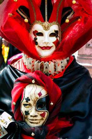 Colorful carnival masks at a traditional festival in Venice, Italy