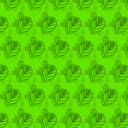 Wallpaper leaves on a green background Vector