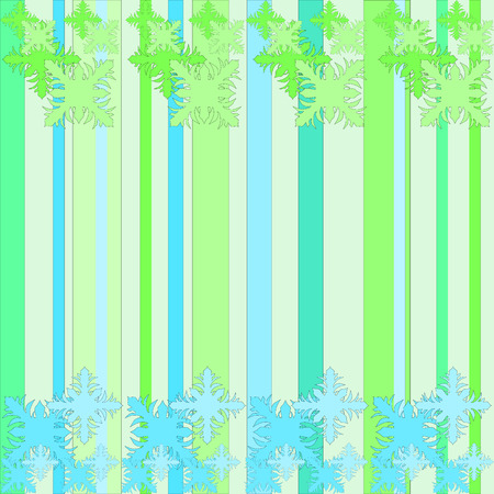 ilustration and painting: green and blue floral pattern on striped background